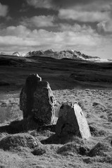 2018 Skye Easter - Stones and Cuillins 2 (Birm) Tags: isle skye april 2018 sony osedale standing stone cuillins bw ir infra red landscape ancient monument prehistoric