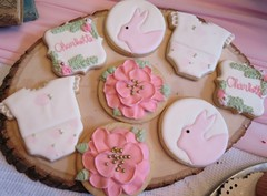 baby shower cookies (backhomebakerytx) Tags: back home bakery backhomebakery baby shower cookies hand decorated bunny pink flowers name cute girl babies