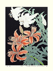 Trumpet lily and tiger lily (Japanese Flower and Bird Art) Tags: flower trumpet lily lilium longiflorum liliaceae tiger lancifolium toyohisa modern woodblock print japan japanese art readercollection