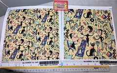 """""""1950's Beatnik Style"""", large and small scale fabric test swatches. My original design, hand drawn digitally. (sassyone2013) Tags: beatnik beatniks bohemian boho beatnikstyle cat cats retro vintage 1950s midcenturymodern fabric wallpaper giftwrap wrappingpaper sewing quilting illustration drawing cartoon animation handdrawn yellow atomicage whimsical quirky digitalart indieart indiefabrics textile textiles fabricdesign amygale retrostyle digitaldrawing textileart"""