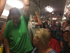 Overloaded tram in Göteborg, Sweden, on a Monday evening (hherskind) Tags: people evening crowded overloaded overfilled sweden göteborg tram