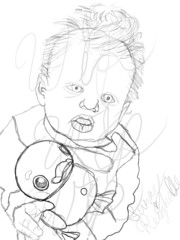 Parker Drawing WIP 1 (Laylani Marie) Tags: reborn drawing sketch parker nlovewithreborns2011 sunnyreighelle baby fake doll duck cute