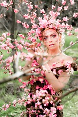 "TEATRONATURA ""Pink blossom explosion"" (valeriafoglia) Tags: pink blossom bloom flowers spring springtime delicate model makeup magic atmosphere art amazing fantasy fairy stylist creative composition capture colors creature nature nymph photography photo pretty p"