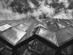 Harpa Concert Hall (RobertLx) Tags: harpa iceland island nordic arctic europe reykjavik architecture glass facade building concerthall city grid sky monochrome bw clouds modern contemporary geometric repetition pattern