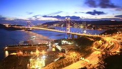 Tsing Ma Bridge (Wilson Au | 一期一会) Tags: tsingmabridge hongkong canon landscape evening magichour eos5dmarkiii ef2485mmf3545usm longexposure bridge water slowshutter light color