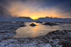 Sunset over Lochan na-h Achlaise, Rannoch Moor, Scotland (MelvinNicholsonPhotography) Tags: lochannahachlaise loch rannoch moor glencoe scotland sunset water frozen ice cold winter snow reflections sun sky cloud