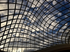Chadstone Shopping Mall - roof (Marian Pollock) Tags: australia melbourne chadstone shoppingcentre mall architecture roof windows atrium building sky clouds reflections grid transparent glass