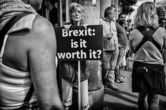 brexit: is it worth it? (Daz Smith) Tags: dazsmith fujixt20 fuji xt20 andwhite bath city streetphotography people candid portrait citylife thecity urban streets uk monochrome blancoynegro blackandwhite mono woman sign demonstartion protest brexit bristol
