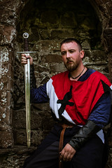 Jacques de Guerande (Coed Celyn Photography) Tags: medieval reenactment re enactment enactor renaissance faire larp living history historic historical armour outfit costume clothing armor weapons sword shield weapon mace flail axe broadsword glave knights knight ardudwy cymer abbey dolgellau north wales cymru