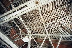 Vaulted Intersections (Jetcraftsofa) Tags: nikonf3 tokinarmc1735 ektar100 35mm slr filmphotography wideangle availablelight barn animalhouse ceiling oldwood perpendicularlines vaulted