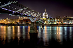 Midnight by the Millennium Bridge (EricMakPhotography) Tags: london tripod night stpaul cathedral hdr town downtown river thames longexposure cityscape light