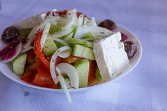 Greek salad with peppers, cucumbers, onions, olives and feta cheese (marcoverch) Tags: griechenland chalkidiki afytos kassandra greek urlaub ouranoupoli decentralizedadministrationof decentralizedadministrationofmacedoniaandthrace gr food lebensmittel salad salat lunch mittagessen vegetable gemüse meal mahlzeit dinner abendessen plate teller dish gericht noperson keineperson tomato tomate cheese käse delicious köstlich appetizer vorspeise onion zwiebel cuisine kochen pepper pfeffer diet diät epicure feinschmecker restaurant bowl schüssel history flying woods mist flag mono vacation leica himmel macromondays greeksalad peppers cucumbers onions olives fetacheese