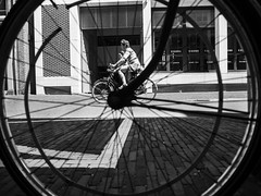 Leading lines (weerwolfje) Tags: bnw bw blackandwhite street streetphotography utrecht olympus omd mark 2 bicycle leading lines