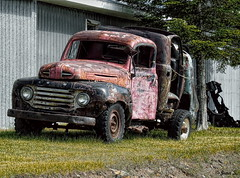 Times out (Jean S..) Tags: truck old rust rusty garage tree rural