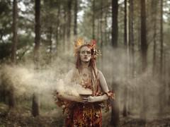 Lughnasadh (KaiaPieters) Tags: girl woman red hair leaves fall autumn smoke midsummer pagan wicca celtic lughnasa lammas harvest goddess