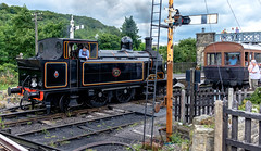 Time to ponder (Peter Leigh50) Tags: steam engine tank signal station coach carriage people passenger driver locomotive train railway railroad rail track semaphore fujifilm fuji xt10 rust