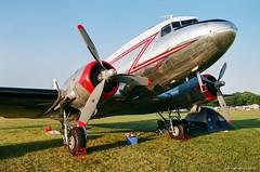 DC-3 on film (dpsager) Tags: 2018 airventure dc3 dpsagerphotography eaa eaaoshkoshairshow eos1v film fujisuperia100 oshkosh wisconsin aircraft airplane airshow osh18