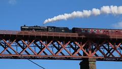 Leander at Inverkeithing (kitmasterbloke) Tags: northqueensferry scotland bridge forth leander 45690 steam train locomotive girder high unesco worldheritagesite outdoor sunny