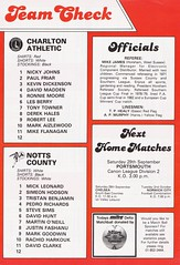 Charlton Athletic vs Notts County - 1984 - Back Cover Page (The Sky Strikers) Tags: charlton athletic notts county the valley milk cup road wembley official matchday magazine 50p