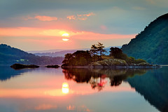 Norfolk Island, Ullswater, Cumbria, England (vincocamm) Tags: sunrise red orange cumbria ullswater lake water reflection clouds sun sunny island summer nikon d5500 serene morning norfolkisland