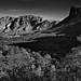 Taking in the Full Breadth of the Chisos Mountains and Basin Below (Black & White, Big Bend National Park)