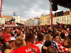 Zagreb City Centre - 7th July 2018... Croatia beat Russia in world cup soccer quarterfinals (sean and nina) Tags: zagreb city centre croatia croatian balkan balkans hrvatska eu europe european capital fans footbal futbol fifa world cup quarterfinal quarter finals russia match public street photography people persons crowds bars cafes clubs pedestrian zone red white kit shirts men women felame male girls boys candid supporters atmosphere outdoors outside cheers cheer celebration seats standing costume happy flags colors colours alcohol screen screening square buildings