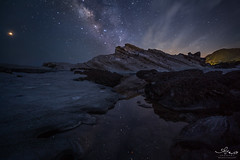 Night at the edge (Kuanying Fu) Tags: sky night landscape longexposure iso wide open aperture irix 15mm milkyway starr clouds seascape outdoor august 2018 summer pond pacific ocean rock 2frames