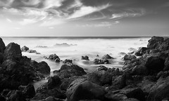 Painted beach (Rico the noob) Tags: dof d850 landscape nature water outdoor 2470mmf28 clouds longexposure monochrome published 2470mm tenerife 2018 blackandwhite stones teneriffa sky bw