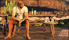 ¿Cerveza? (Broderick Logan) Tags: secondlife second 2nd life 2ndlife avi avatar virtual vr inworld 3d bento mesh music brodericklogan broderick logan lyrics photography sandals soul identity poses ardent bar beer drinking jian dog