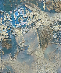 dream_imlufufl8sh (Marked_man) Tags: mixed media art artwork craft creative blue lace lacey portrait head headshot woman lady female girl
