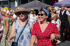 lady in red (Mark Rigler -) Tags: vintage day poole quay dorset england people fun happy street crowd pretty cute sweet