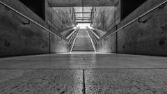 to the Light (Leipzig_trifft_Wien) Tags: leipzig sachsen deutschland de building metro station underground stair staircase wideangle perspective pov vanishing black white blackandwhite bnw bw city urban