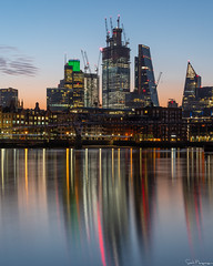 City Sunrise, London (SNeequaye) Tags: london england uk unitedkingdom nikon nikond750 tamron tamron2470mm 2470mm tamron70200mm 70200mm sigma sigma35mm nikon1635mm riverthames water still slowexposure slowshutter eastlondon southlondon northlondon westlondon 122leadenhallstreet cheesegrater herontower tower42 gherkin 22bishopsgate 100bishopsgate view thecity thesquaremile skyline southwarkbridge millenniumbridge sun theview architecture building dusk city sky sunrise twentytwolondon twentytwobishopsgate multiplexmoments scalpel thescalpel