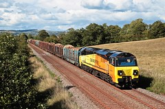 70813 (Paul268868) Tags: 70813 6j37 carlisleyard chirkkronospan clitheroe lancashire ribblevalley northwestengland greatbritain unitedkingdom europe theworld planetearth colasrailfreight generalelectric transport outdoors outside railroads vehicle sun track digital photo picture camera sony nikon canon paulmanley tree landscape lihgt engine locomotive clouds grass day summer 2018 august field color colour blue green yellow orange red