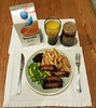 Sausage and Chips (Stuart Axe) Tags: food meal chips sausage sausages tea dinner orangejuice branstonpickle peas sweetcorn knife fork table knifeandfork tropicana tropicanaorangejuice yumyum lunch