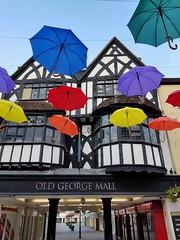 Rainy daze.. (Harleynik Rides Again.) Tags: harleynikridesagain salisbury ghosttown wiltshire streetlife decorations whereiseverybody parasols phoneimage