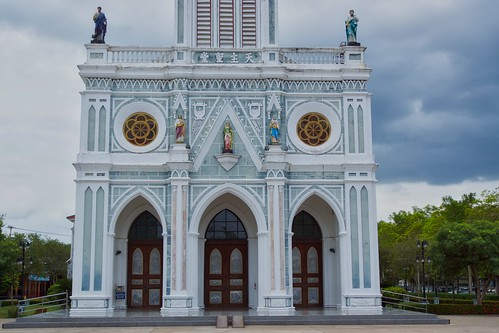 Nativity of Our Lady cathedral by the Mae Klong river in Samut Songkhram province in Thailand