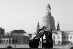 Shoes in front of the Frauenkirche (www.holgersbilderwelt.de) Tags: shoes augustusbrücke beautiful white light sky black travel street beauty architecture morning art urban building river germany pretty europe glamour outdoor monochrome way closeup fine amazing classic kunst scenic lovely historic culture traditional public perspective saxony tradition sachsen sandstone dresden schwarzweiss aperture frauenkirchedresden brühlscheterrasse