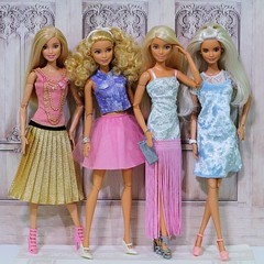 Pretty Party Dresses (Annette29aag) Tags: barbie doll group fashion fashionista madetomove redressed pose pink