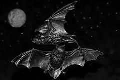 Batty Trinkets (Mark Wasteney) Tags: macromondays trinkets bats badges madeofmetal bw blackwhite monochrome night moon stars wings