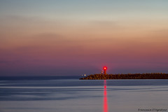 The red lighthouse (Francesca D'Agostino) Tags: faro lighthouse tramonto sunset porto port luce ight lungaesposizione longexsposure gioiatauro calabria