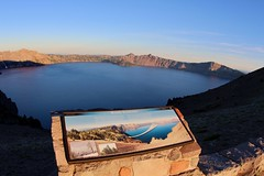 Windy Existence (daveynin) Tags: craterlake crater lake sunrise morning mountain information sign volcanic overlook