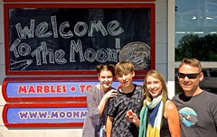 On the Moon With the Sun in Their Eyes (ricko) Tags: family son grandkids daughterinlaw isabel issac dani nate moonmarblecompany bonnersprings kansas chalkboard