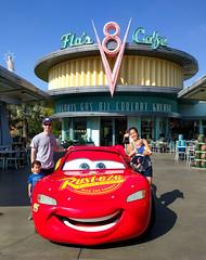 Our Family with Lightning McQueen (Justin Kane) Tags: anaheim california unitedstates us adventure disney lightning mcqueen pixar racecar car flos v8 cafe