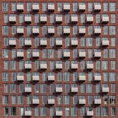 Balcony Drizzle (Paul Brouns) Tags: architecture architectuur architektur urban tapestry tapestries amstelveen amsterdam holland netherlands nederland square balcony balconies scattered pattern windows bricks student housing
