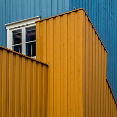 Yellow corner (Ulrich Neitzel) Tags: blau blue facade fassade fenster gelb lines linien mzuiko1240mm norge norway olympusem1 square trondheim window wooden yellow
