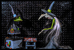 Numbers?! We don't use numbers! (Dotsy McCurly) Tags: nikond850 venusoptics laowa venuslaowa witch witches hats hair book spell spells chair numbers diecut paper cardstock copper artfigure adobe photoshop topaz fun funny crazytuesdaytheme 7dwf nightmarebeforechristmas