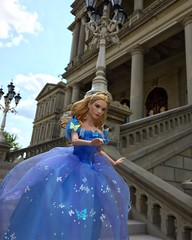 On the steps of the palace (Timb0Wimb0) Tags: cinderella disney princess lily james barbie doll mattel live action ballgown blue butterflies sparkle glitter