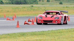 GTM carves up the course (R.A. Killmer) Tags: gtm autocross fast horsepower v8 american quick midstate airport scca red race racer driver drive factory5 conekiller classic