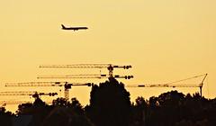 Sunset Landing (AnetteWho) Tags: düsseldorf plane crane sunset silhouette